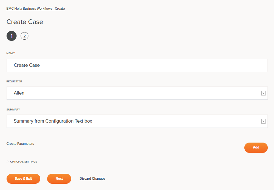 BMC Helix Business Workflows Create Case Activity Configuration Step 1
