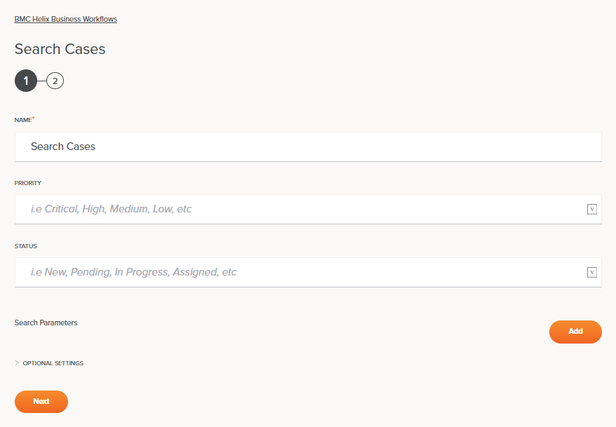 BMC Helix Business Workflows Search Cases Activity Configuration Step 1