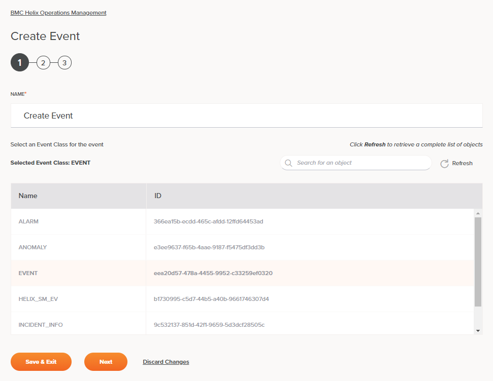 BMC Helix Operations Management Create Event Activity Configuration Step 1