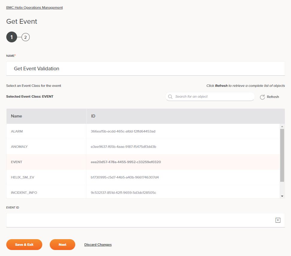 BMC Helix Operations Management Get Event Activity Configuration Step 1