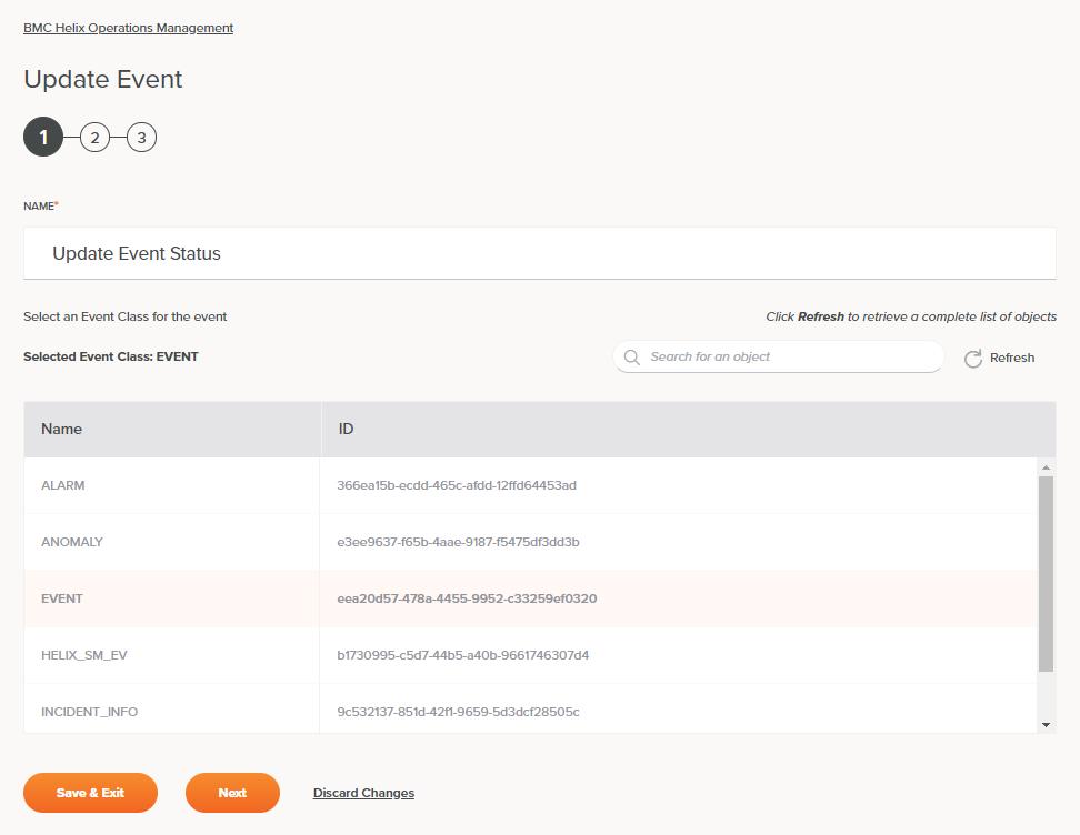 BMC Helix Operations Management Update Event Activity Configuration Step 1
