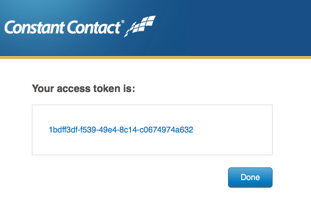 Constant Contact application creation