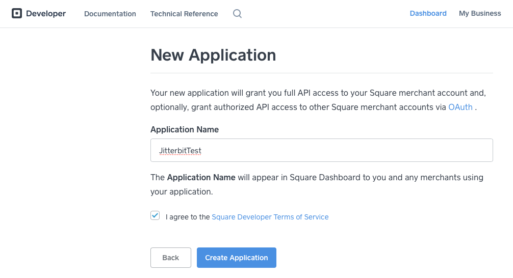 Square new application